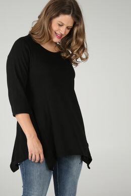 Tunika-T-Shirt aus warmem Material, Schwarz