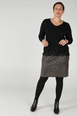 Pullover mit Spitzeneinsatz, Schwarz