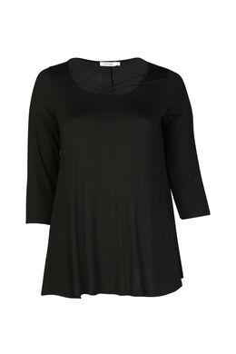 T-Shirt aus Viskose mit Kreuzkragen, Schwarz