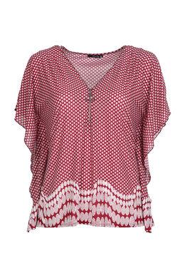 T-Shirt mit gemischtem Aufdruck, Bordeaux