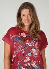 Satin-T-Shirt mit Aufdruck im japanischen Stil, Bordeaux