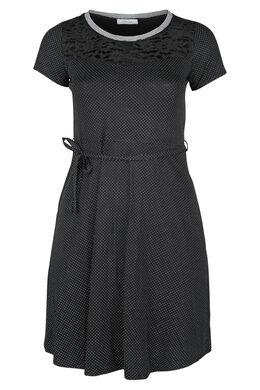Kleid mit Tupfenaufdruck, Schwarz