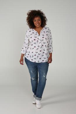 Bluse aus bedrucktem Mousseline, naturfarben