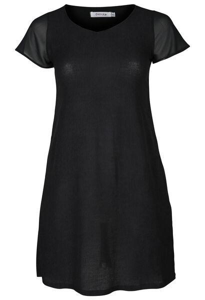 Kleid mit kurzen Ärmeln aus Voile - Schwarz