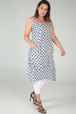Langes Leinenkleid mit Tupfenaufdruck, Hellgrau