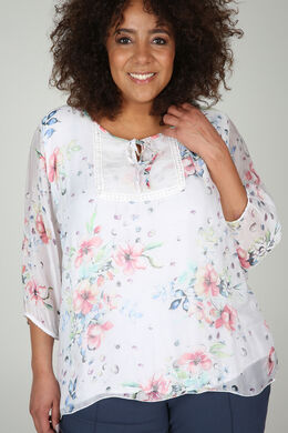 Bluse mit Blumen- und Pünktchendruck, weiß