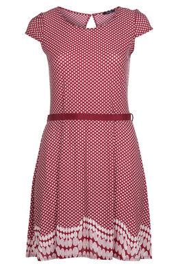 Kleid mit gemischtem Aufdruck, Bordeaux