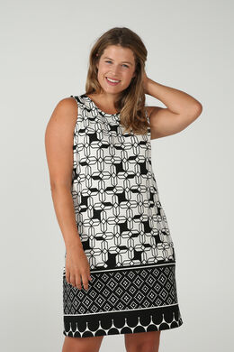 Kleid mit grafischem Aufdruck, Schwarz