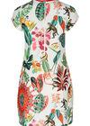 Mit tropischen Motiven und Affen bedrucktes Kleid, Multicolor