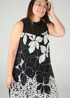 Kleid aus Voile mit Blumenaufdruck, Schwarz