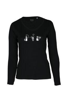 T-Shirts mit 3 kleinen Katzen, Schwarz
