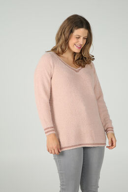 Pullover mit V-Ausschnitt und Lurex-Fasern, Rosa