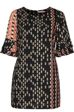 Bedrucktes Kleid in entspannter Passform, Orange