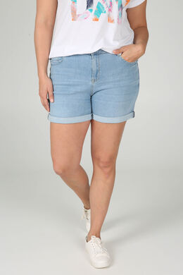 Jeans-Shorts mit Ösen-Detail, Licht Denim