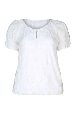 T-Shirt aus Ausbrenner-Material mit Strass, weiß