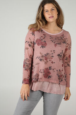 Doppellagiger Pullover mit Blumen-Print, Rosa