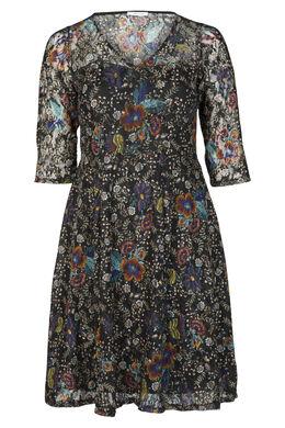 Kleid im Blumendruck, Blau Bic