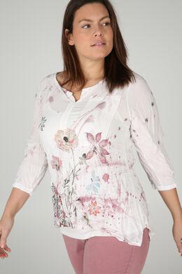 Bedruckte Voile-Bluse, Rosa