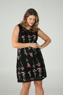 Ärmelloses Kleid mit bestickter Spitze, Schwarz