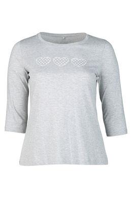 T-Shirt mit 3 Herzen-Print, China Grau