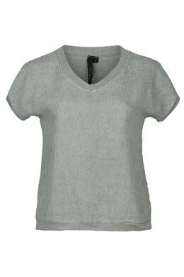 T-Shirt, vorne Leinen, hinten Gewebe, Licht Kaki