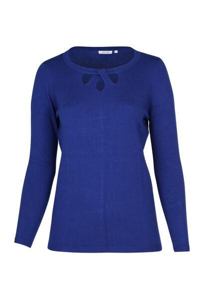 Pullover mit drei tropfenförmigen Aussparungen und Strass am Ausschnitt - Blau Bic