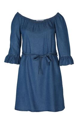 Kleid aus Tencel-Jeans mit U-Boot-Ausschnitt, Denim
