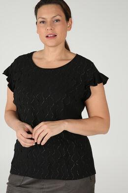 T-Shirt mit kleinen Rüschen, Schwarz