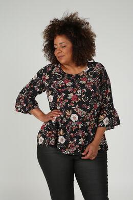 Bluse mit Blumenaufdruck, Schwarz