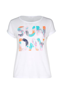 """T-Shirt mit Aufdruck """"Sun Day"""", weiß"""