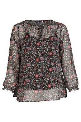 Bluse mit Blumenaufdruck, Bordeaux