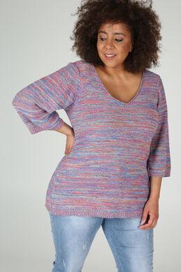 Streifen-Pullover mit 3/4-Ärmel, Multicolor