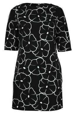 Kleid mit Blumenaufdruck, Schwarz