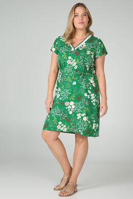 Mit Blumen bedrucktes Tunika-Kleid, Grün