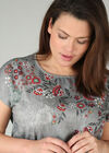 Bedrucktes T-Shirt aus zwei Materialien, Khaki