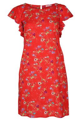 Kleid aus Kreppstoff mit Blumendruck, Rot