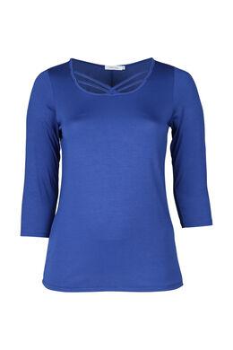 T-Shirt mit überkreuztem Detail auf dem Vorderteil, Blau Bic