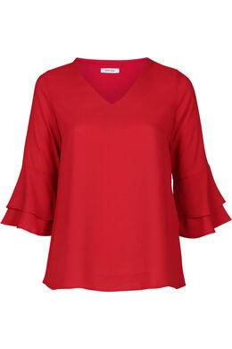 Bluse mit Rüschenärmeln, Rot