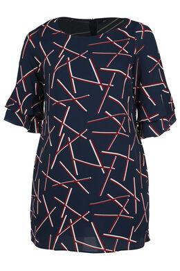 Kleid mit 3/4-Ärmeln und Rüschen, Marine