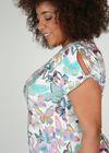 T-Shirt mit Schmetterlingsaufdruck und Strass, Multicolor