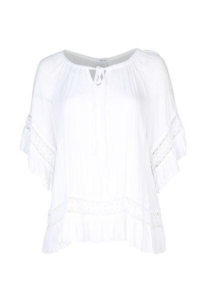 Weite Bluse mit Makramee-Applikationen - weiß