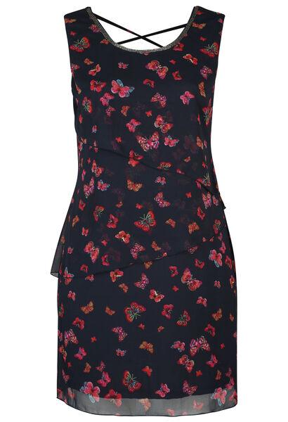 Kleid mit Schmetterlingsaufdruck - Marine