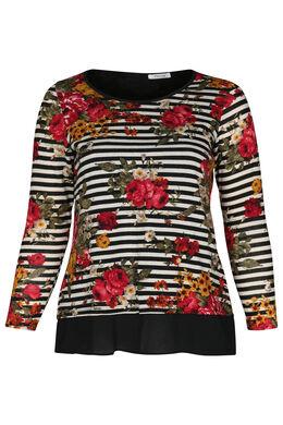 Mit Streifen und Blumen bedrucktes T-Shirt, Schwarz