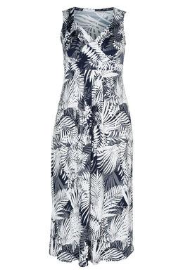 Langes Kleid, im Rubberprint mit Blattmotiven bedruckt, Marine