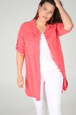 Hemdkleid aus einfarbigem Lyocell, Koralle