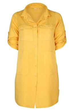 Hemdkleid aus einfarbigem Lyocell, ocker