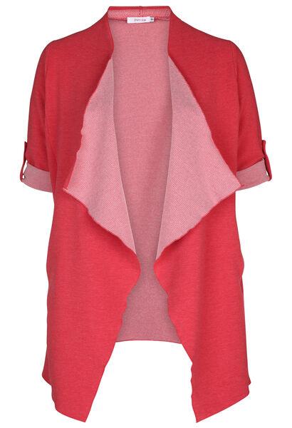 Lange Jacke aus gestreiftem Strick - Rot