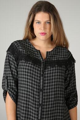 Bluse mit Karo-Print, Schwarz