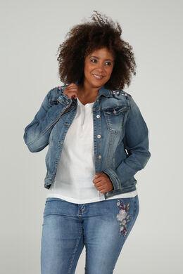 Jeansjacke mit Stickerei, Denim