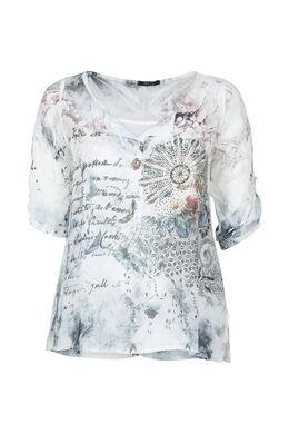 Bluse aus bedrucktem Schleierstoff mit Strass, weiß